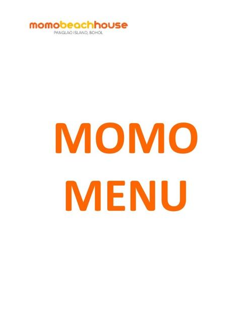 Momo Beach House's ALL DAY BREAKFAST MENU