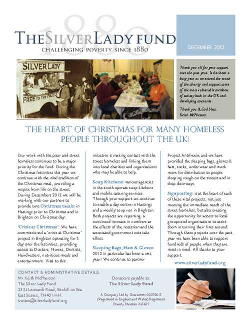 Silver Lady Fund Newsletter - Winter 2012