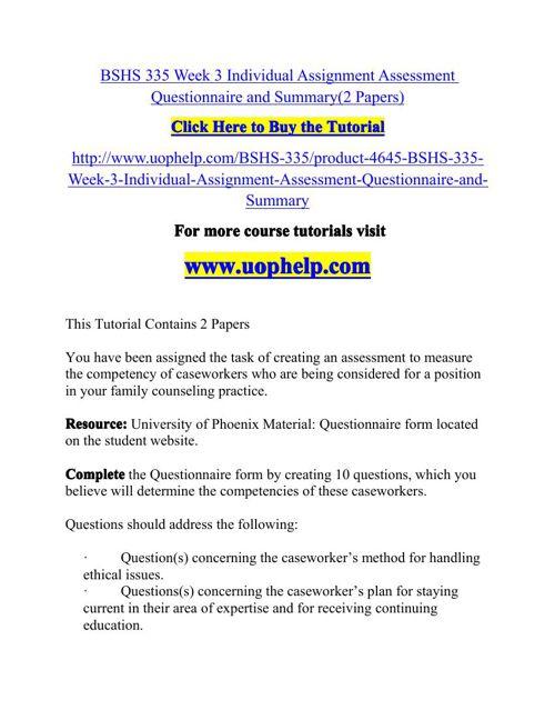 bshs335 r1 assessment questionaire template