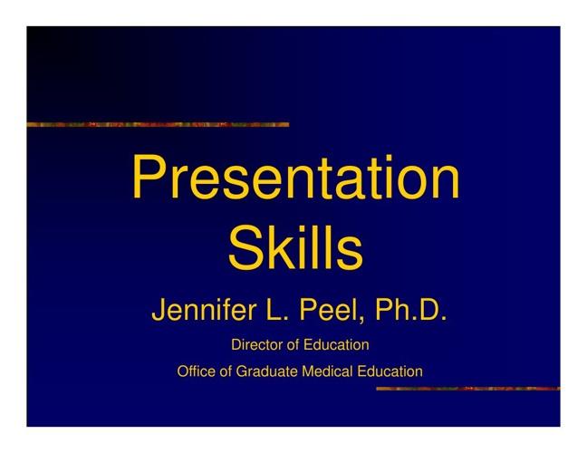 Crum Presentation Skills Activity