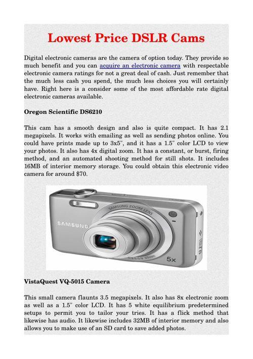 Lowest Price DSLR Cams