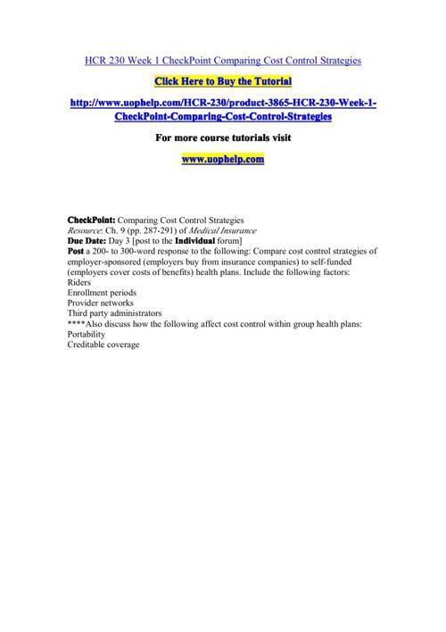 HCR 230 Academic Coach/uophelp