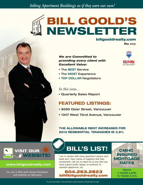 Bill Goold Newsletter May 2013