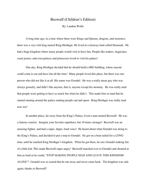 Beowulf (Children's Edition) Adapted By: Landon Wolfe