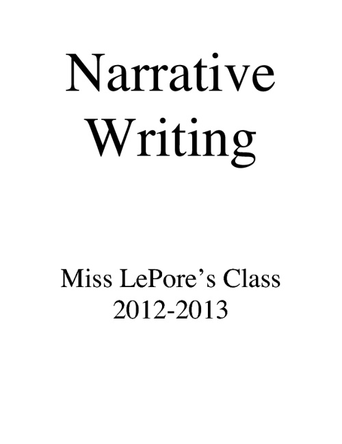 2012 Narrative Writing