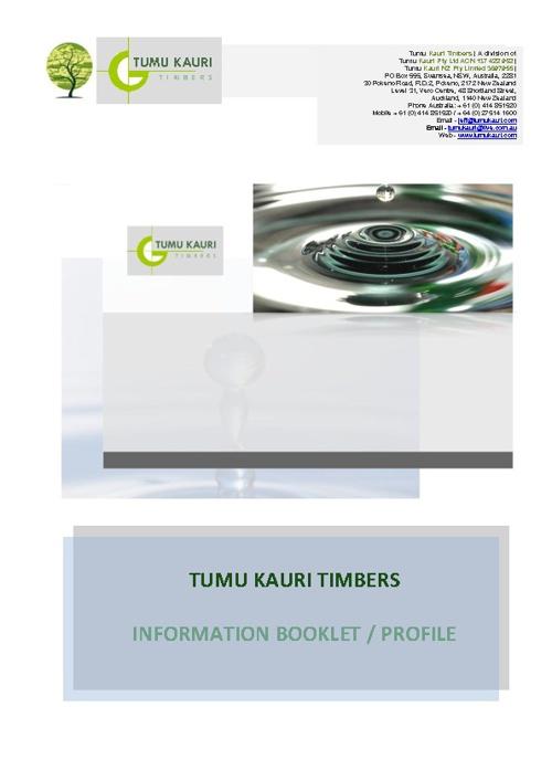 Tumu Kauri Information / Profile Booklet