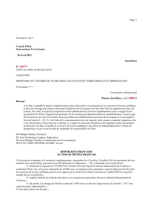 Conseil d'ETAT.24.04.2012