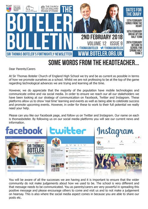 Boteler Bulletin 2nd February 2018