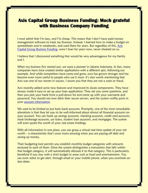 Axis Capital Group Business Funding: Much grateful with Business