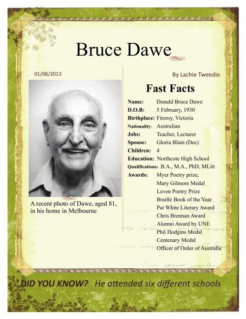 an analysis of the poetry of bruce dawe a well renowned australian poet