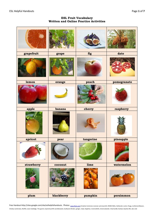 Fruit vocabulary - activity