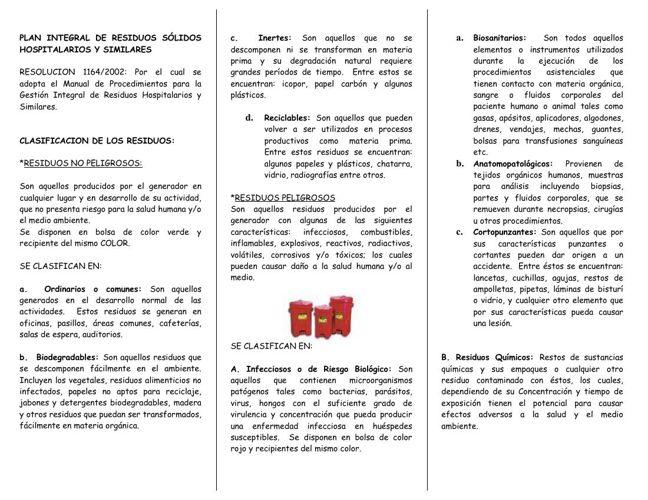 FOLLETO DE RESIDUOS HOSPITALARIOS