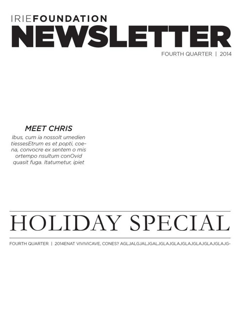 Irie Foundation : Holiday Special Newsletter