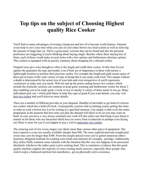 Top tips on the subject of Choosing Highest quality Rice Cooker