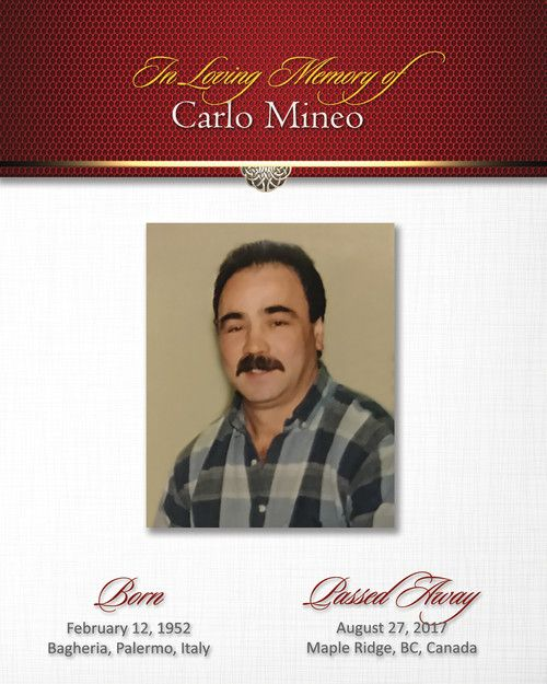 Memorial Card for Carlo Mineo