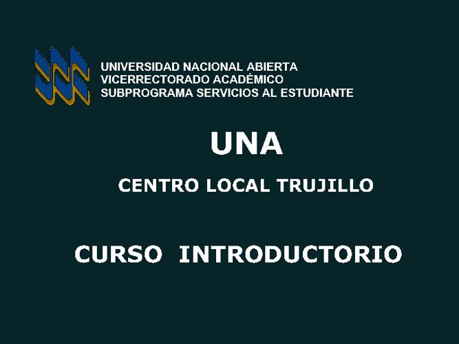 CURSO INTRODUCTORIO UNA