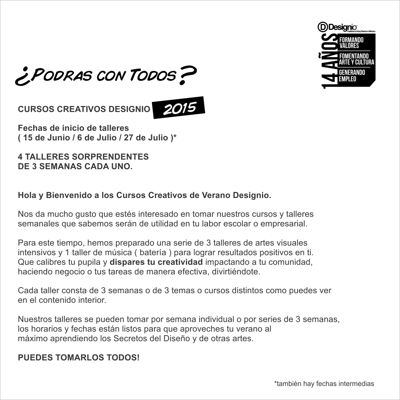 CURSOS DE VERANO DESIGNIO MEXICALI 2015
