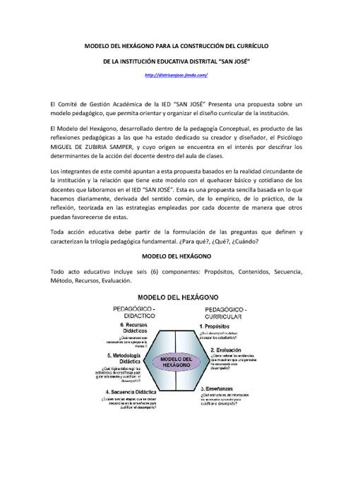 MODELO DEL HEXÁGONO - IED SAN JOSÉ