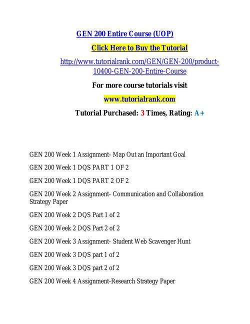 GEN 200 learning consultant / tutorialrank.com