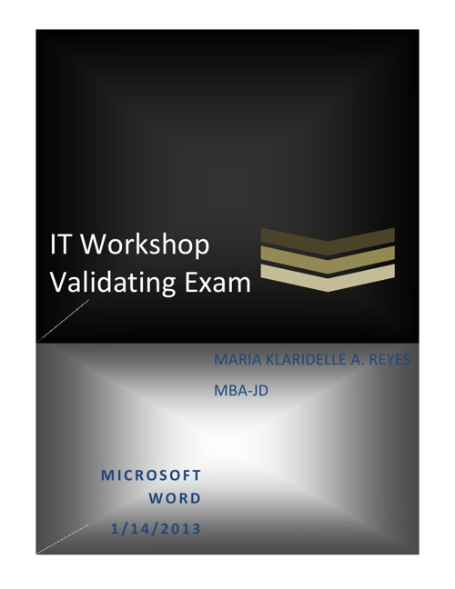 MS Word Validating Exam - Delle Reyes