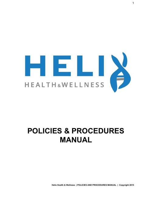 Helix Health & Wellness | Policies & Procedures manual