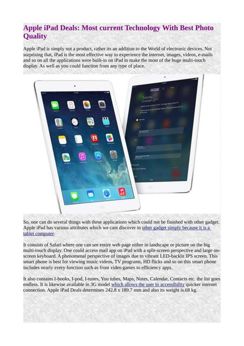 Apple iPad Deals: Most current Technology With Best Photo Qualit