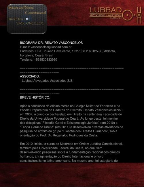 Biografia Dr. Renato Vasconcelos