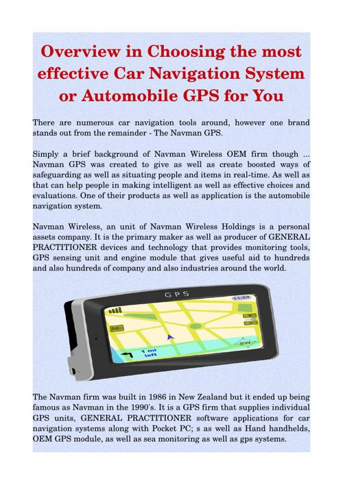 Overview in Choosing the most effective Car Navigation System or