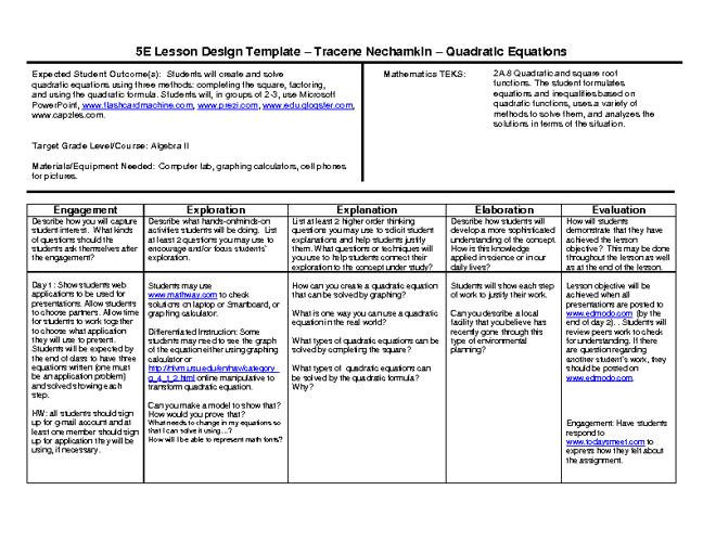 5E Lesson Plans