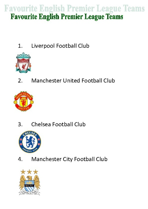 Favourite English Premier League Teams