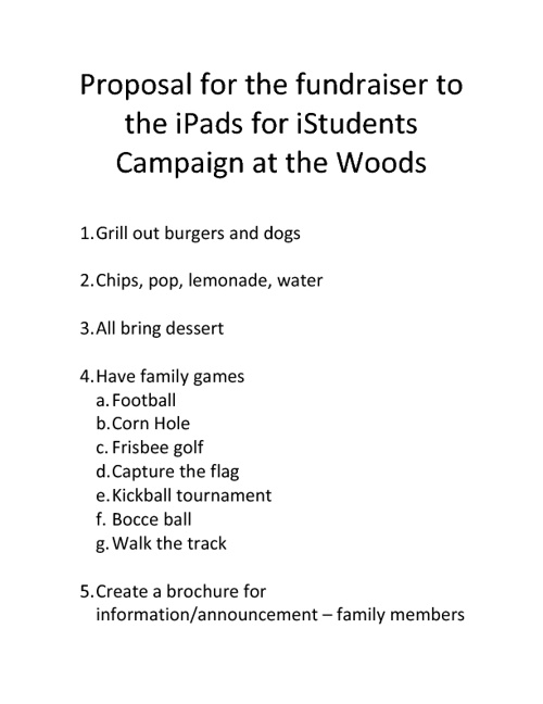 Proposal for iPads for iStudents Fundraiser in the Woods
