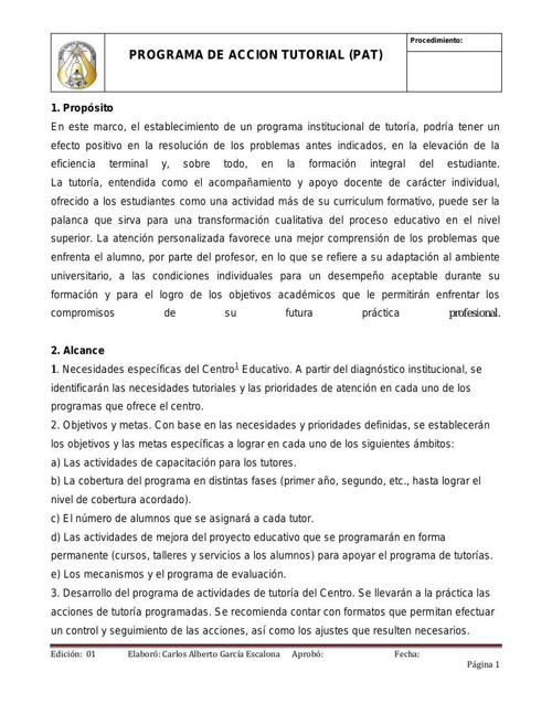 PROGRAMA DE ACCION TUTORIAL ENSEP