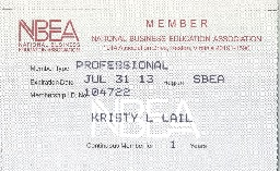 Lail NBEA membership card