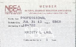 Lail NBEA membership card