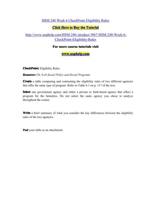 HSM 240 Week 6 CheckPoint Eligibility Rules