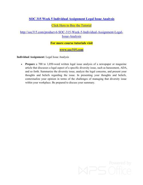 SOC 315 Week 5 Individual Assignment Legal Issue Analysis