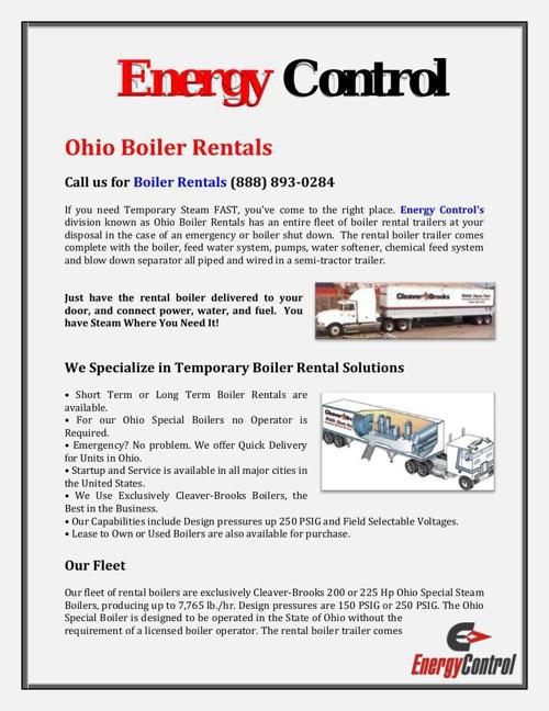 Energy Control: Ohio Boiler Rentals