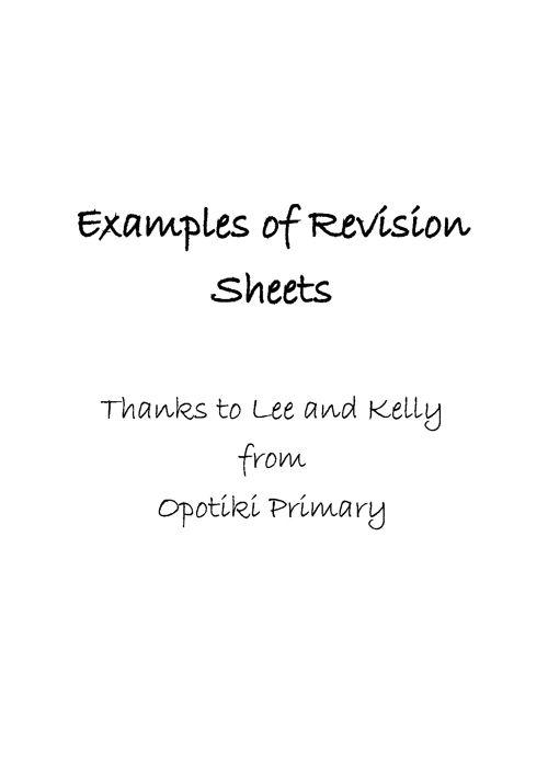 Revision Sheets