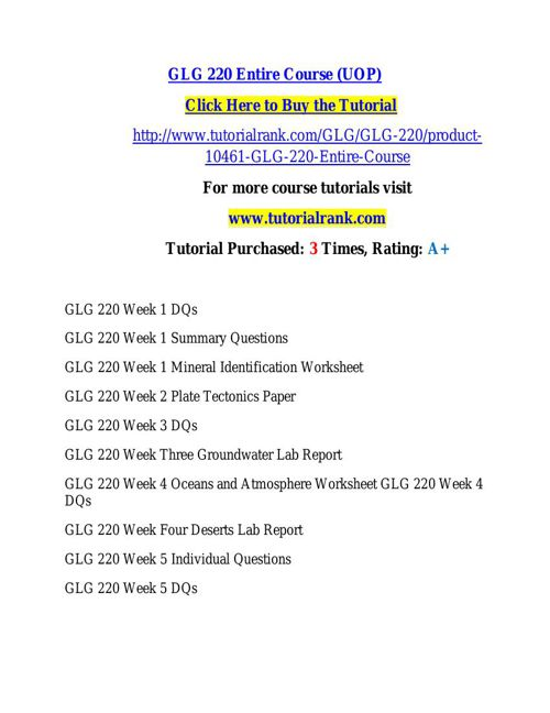 GLG 220 learning consultant / tutorialrank.com