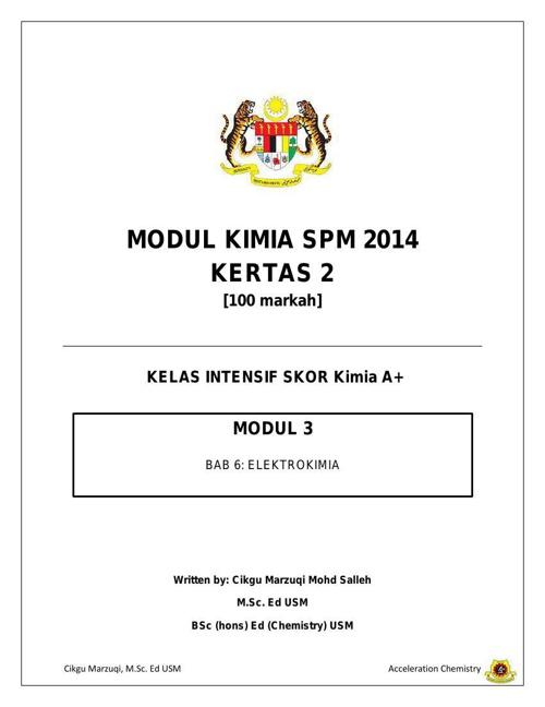Modul 3 Kimia SPM 2014