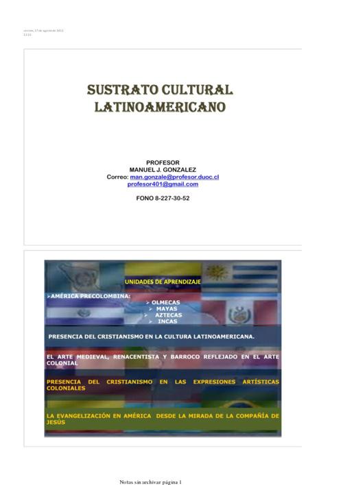 PROGRAMA SUSTRATO CULTURAL LATINOAMERICANO