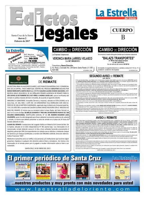 Judiciales 2 jueves - febrero 2017