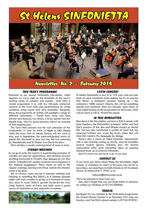 Sinfonietta Newsletter 2