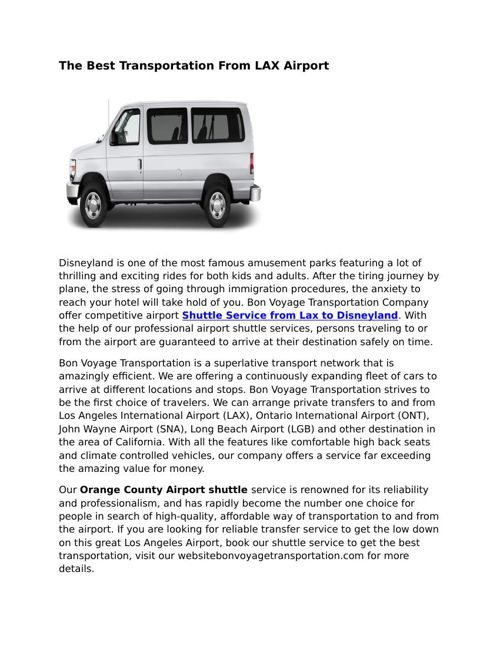 Riverside Airport Shuttle Service