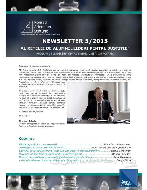 Newsletter Alumni Lideri pentru Justiție 5/2015