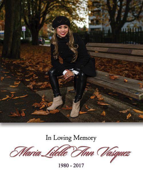 """Memorial Card for Maria Lilette Ann """"Lian"""" Vasquez"""