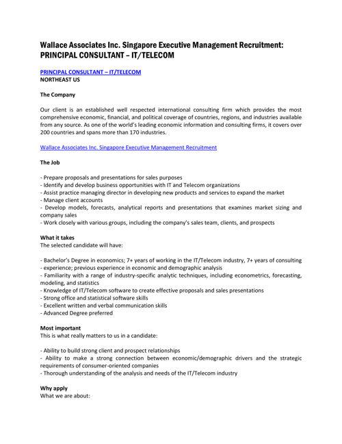 Wallace Associates | PRINCIPAL CONSULTANT – IT/TELECOM