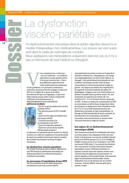 La dysfonction viscéro-pariétale (DVP), Roland Solère