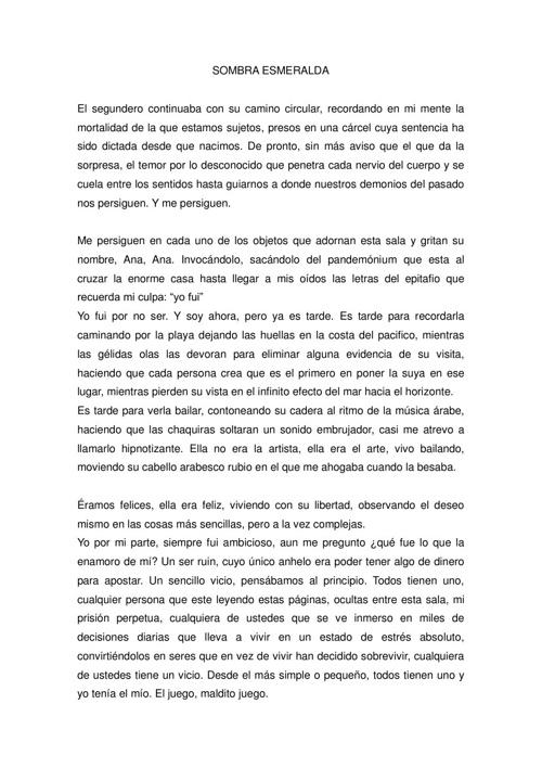 SOMBRA ESMERALDA - por Julián Barragán