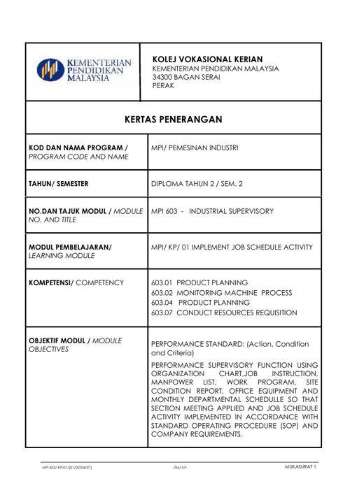 KP MPI 603.01 Industrial Supervisory
